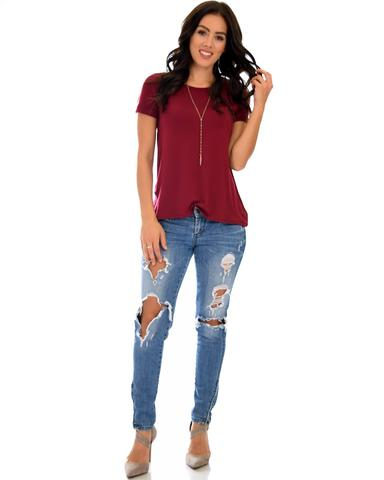 Lyss Loo The New Classic Cuffed Sleeve Burgundy Tunic Top - Jeanetteshus