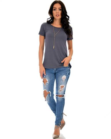 Lyss Loo The New Classic Cuffed Sleeve Charcoal Tunic Top - Jeanetteshus