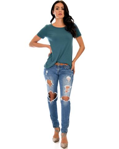 Lyss Loo The New Classic Cuffed Sleeve Teal Tunic Top - Jeanetteshus