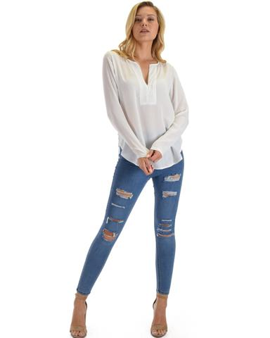 Kimberly Woven Long Sleeve Blouse