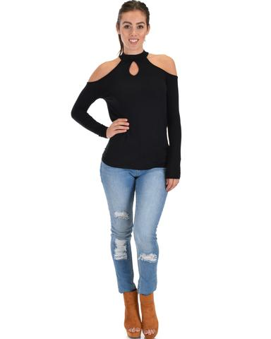 Lyss Loo Shy Sweetheart Long Sleeve Black Cold Shoulder Top - Jeanetteshus