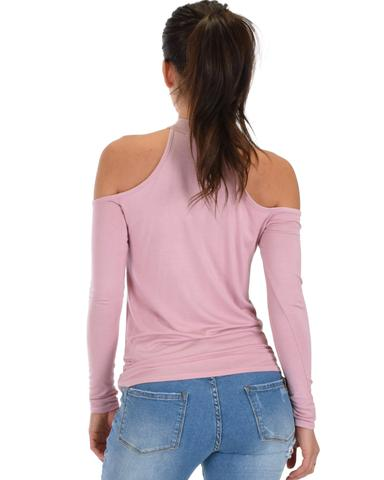 Lyss Loo Shy Sweetheart Long Sleeve Mauve Cold Shoulder Top - Jeanetteshus