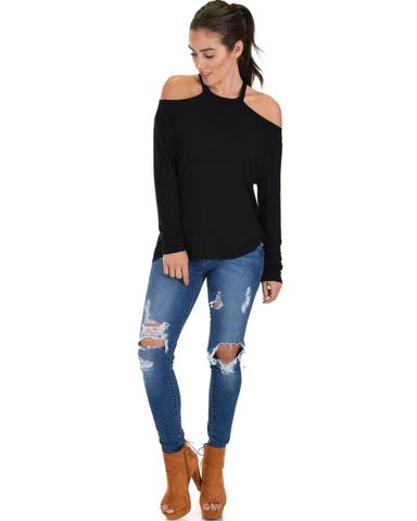 Lyss Loo Filled With Smiles Long Sleeve Black Cold Shoulder Top - Jeanetteshus