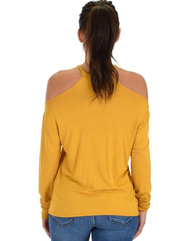 Lyss Loo Filled With Smiles Long Sleeve Mustard Cold Shoulder Top - Jeanetteshus
