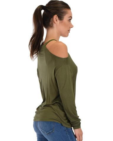 Lyss Loo Filled With Smiles Long Sleeve Olive Cold Shoulder Top - Jeanetteshus