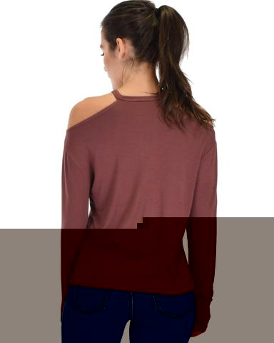 Lyss Loo Filled With Smiles Long Sleeve Marsala Cold Shoulder Top - Jeanetteshus