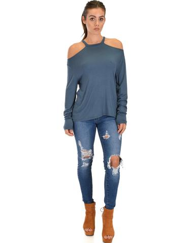 Lyss Loo Filled With Smiles Long Sleeve Teal Cold Shoulder Top - Jeanetteshus