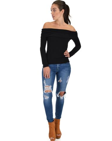 Lyss Loo Bold Move Off The Shoulder Black Long Sleeve Top - Jeanetteshus