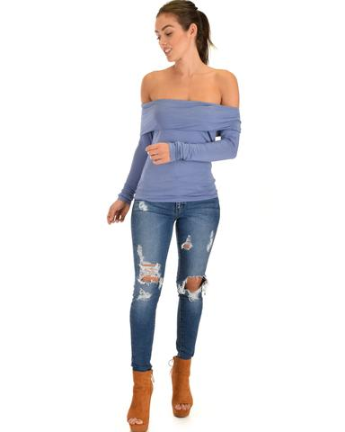 Lyss Loo Bold Move Off The Shoulder Blue Long Sleeve Top - Jeanetteshus