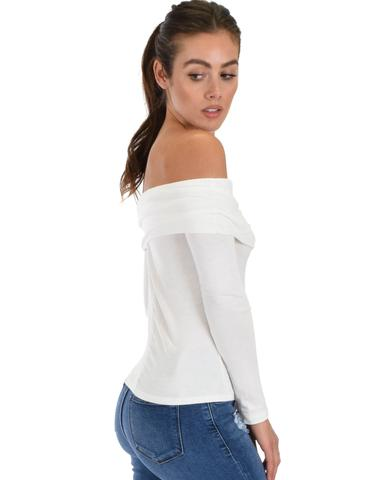 Lyss Loo Bold Move Off The Shoulder Ivory Long Sleeve Top - Jeanetteshus