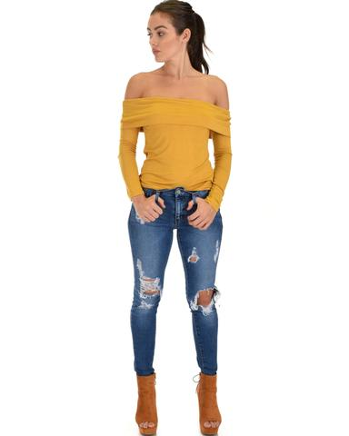 Lyss Loo Bold Move Off The Shoulder Mustard Long Sleeve Top - Jeanetteshus