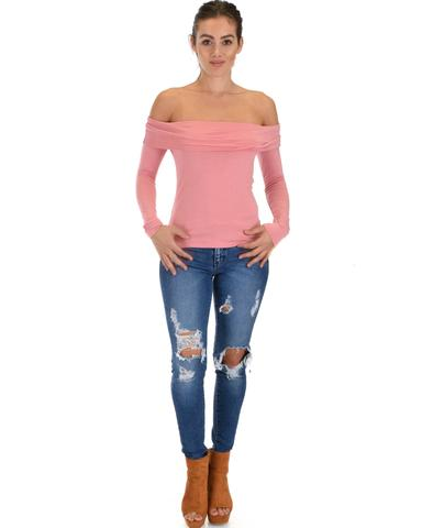 Lyss Loo Bold Move Off The Shoulder Pink Long Sleeve Top - Jeanetteshus