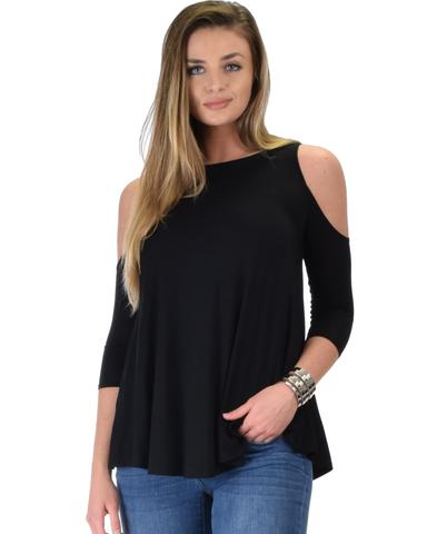 Lyss Loo In Good Company Cold Shoulder Black 3/4 Sleeve Top - Jeanetteshus