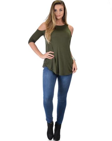 Lyss Loo In Good Company Cold Shoulder Olive 3/4 Sleeve Top - Jeanetteshus