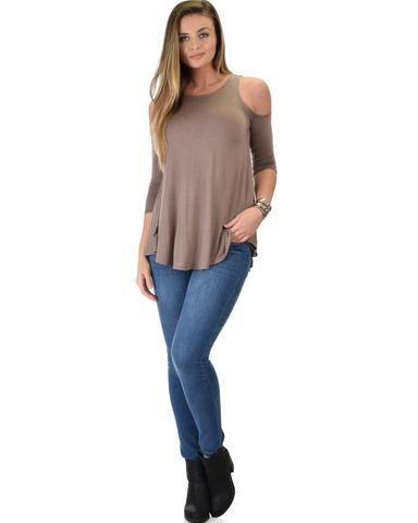 Lyss Loo In Good Company Cold Shoulder Taupe 3/4 Sleeve Top - Jeanetteshus