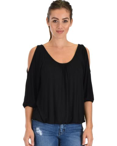 Lyss Loo I Feel Good Cold Shoulder Black Cinched Top - Jeanetteshus