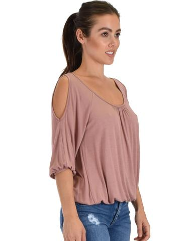 Lyss Loo I Feel Good Cold Shoulder Mauve Cinched Top - Jeanetteshus
