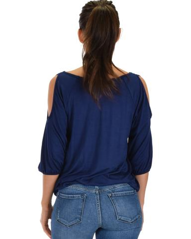 Lyss Loo I Feel Good Cold Shoulder Navy Cinched Top - Jeanetteshus