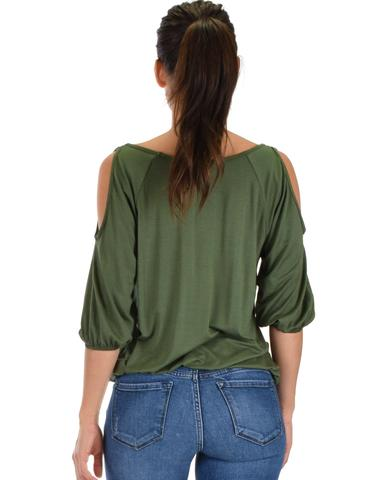 Lyss Loo I Feel Good Cold Shoulder Olive Cinched Top - Jeanetteshus