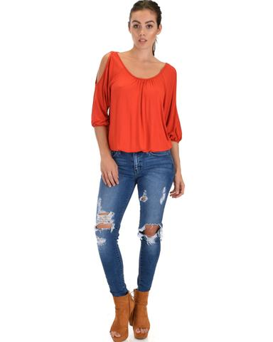 Lyss Loo I Feel Good Cold Shoulder Rust Cinched Top - Jeanetteshus