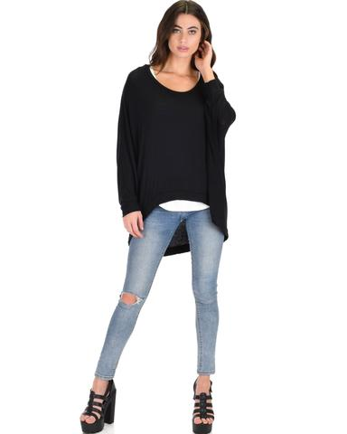 Lyss Loo Light Weight Camille Spring Black Sweater Top - Jeanetteshus