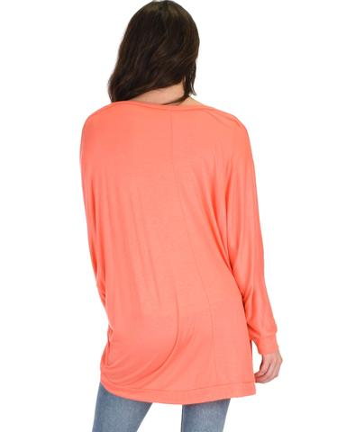 Lyss Loo Light Weight Camille Spring Coral Sweater Top - Jeanetteshus