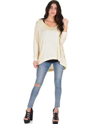 Lyss Loo Light Weight Camille Spring Taupe Sweater Top - Jeanetteshus