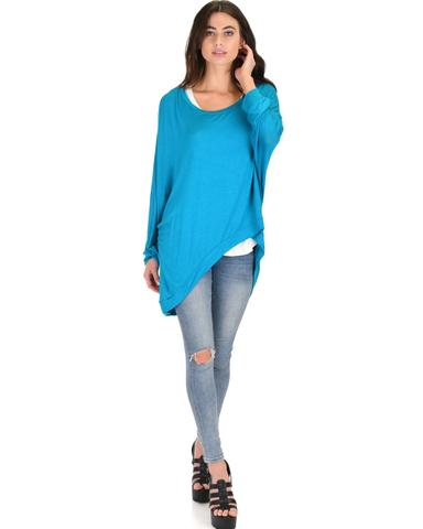 Lyss Loo Light Weight Camille Spring Teal Sweater Top - Jeanetteshus