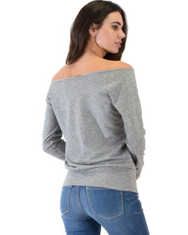 Lyss Loo Dreamy Dancer Wide Neck Grey Sweatshirt Top - Jeanetteshus