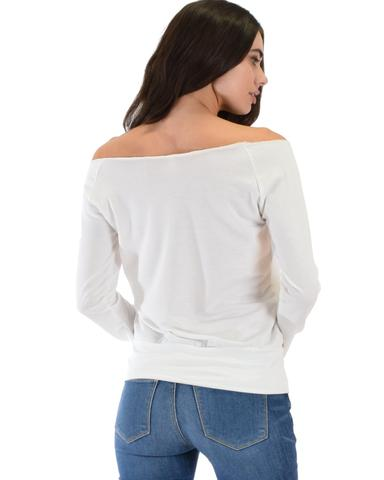 Lyss Loo Dreamy Dancer Wide Neck Ivory Sweatshirt Top - Jeanetteshus