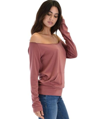 Lyss Loo Dreamy Dancer Wide Neck Marsala Sweatshirt Top - Jeanetteshus