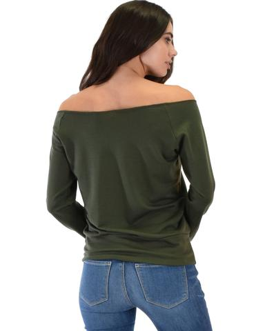 Lyss Loo Dreamy Dancer Wide Neck Olive Sweatshirt Top - Jeanetteshus
