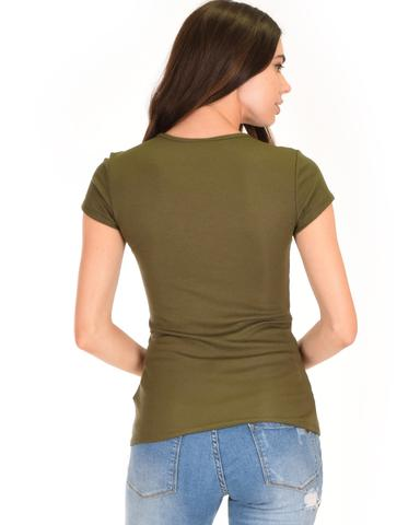 Lyss Loo V-Neck Strappy Olive Ribbed Top - Jeanetteshus