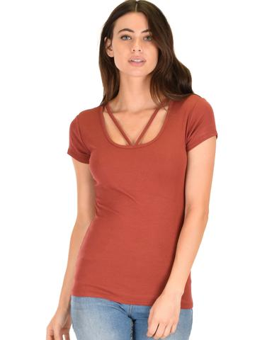 Lyss Loo V-Neck Strappy Rust Ribbed Top - Jeanetteshus