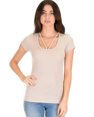 Lyss Loo V-Neck Strappy Taupe Ribbed Top - Jeanetteshus