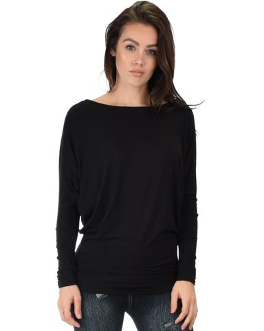 Lyss Loo Contemporary Long Sleeve Black Dolman Tunic Top - Jeanetteshus
