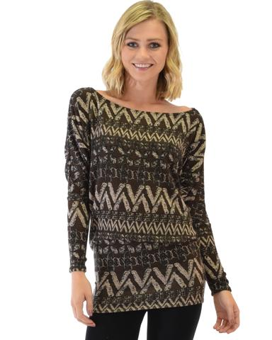 Lyss Loo Contemporary Long Sleeve Patterned Brown Dolman Tunic Sweater Top - Jeanetteshus