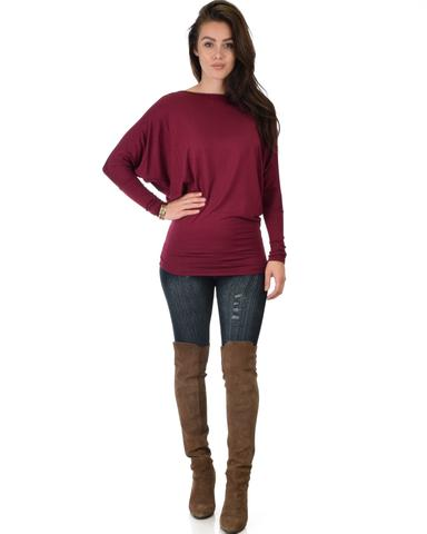 Lyss Loo Contemporary Long Sleeve Burgundy Dolman Tunic Top - Jeanetteshus