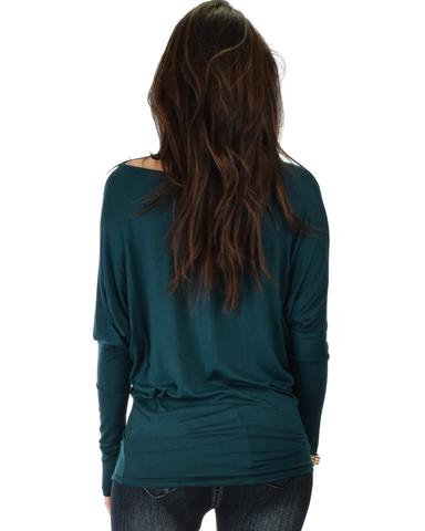 Lyss Loo Contemporary Long Sleeve Green Dolman Tunic Top - Jeanetteshus