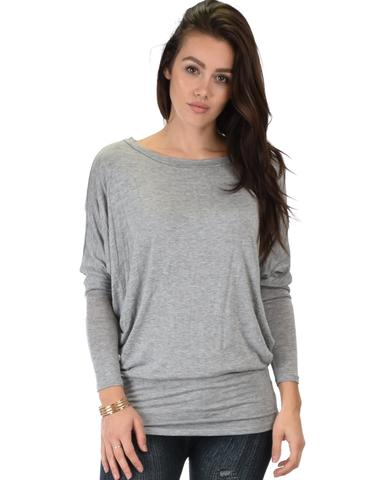 Lyss Loo Contemporary Long Sleeve Grey Dolman Tunic Top - Jeanetteshus