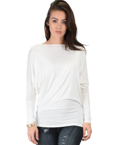 Lyss Loo Contemporary Long Sleeve Ivory Dolman Tunic Top - Jeanetteshus