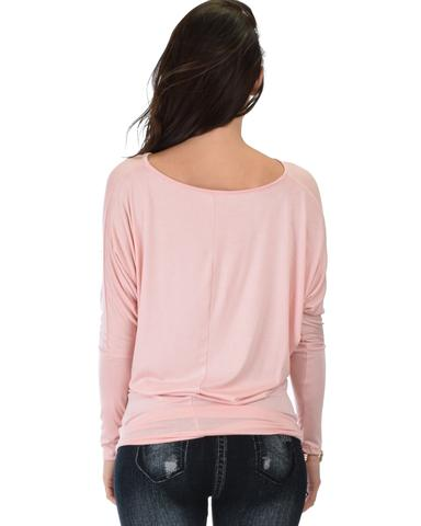 Lyss Loo Contemporary Long Sleeve Pink Dolman Tunic Top - Jeanetteshus