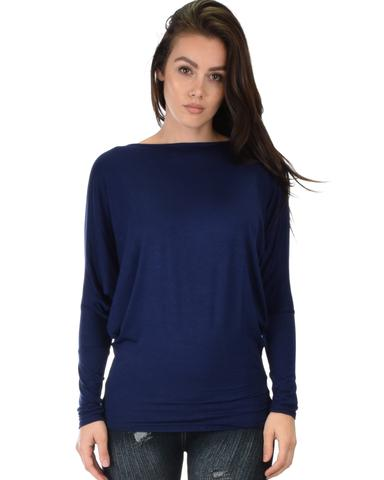 Lyss Loo Contemporary Long Sleeve Navy Dolman Tunic Top - Jeanetteshus