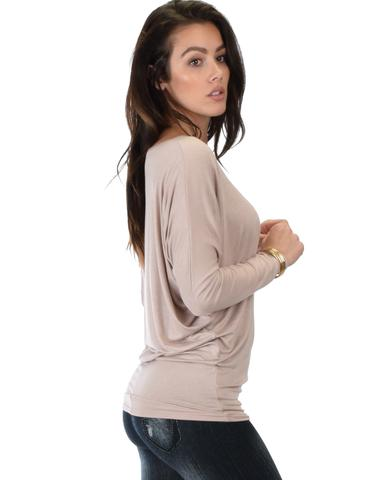 Lyss Loo Contemporary Long Sleeve Taupe Dolman Tunic Top - Jeanetteshus