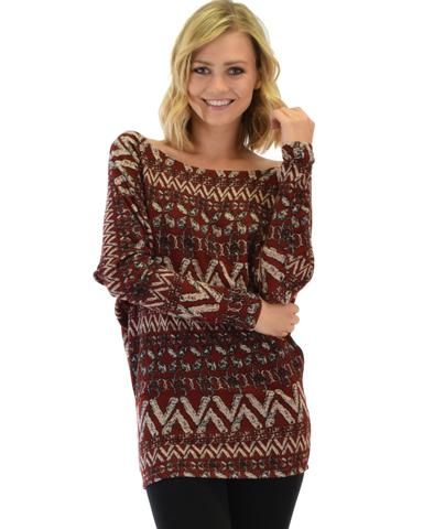 Lyss Loo Contemporary Long Sleeve Patterned Burgundy Dolman Tunic Sweater Top - Jeanetteshus