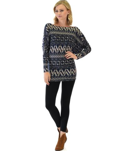 Lyss Loo Contemporary Long Sleeve Patterned Navy Dolman Tunic Sweater Top - Jeanetteshus