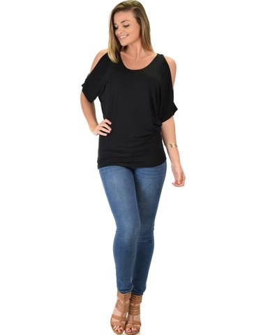 Lyss Loo Contemporary Cold Shoulder Black Dolman Tunic Top - Jeanetteshus
