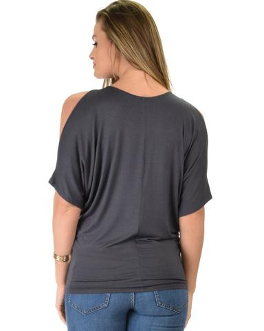 Lyss Loo Contemporary Cold Shoulder Charcoal Dolman Tunic Top - Jeanetteshus