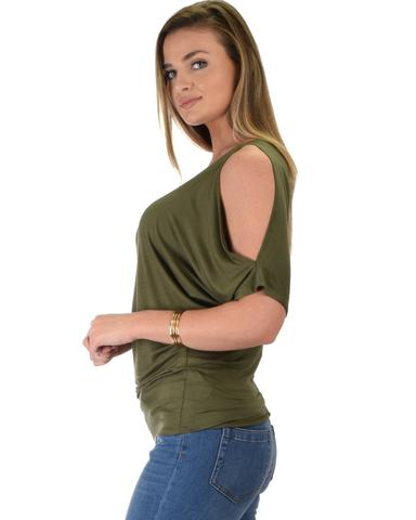 Lyss Loo Contemporary Cold Shoulder Olive Dolman Tunic Top - Jeanetteshus