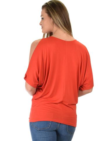Lyss Loo Contemporary Cold Shoulder Rust Dolman Tunic Top - Jeanetteshus